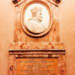 Memorial relief dedicated to Angelo Rocca, 1764, vestibule of Biblioteca Angelica, Rome