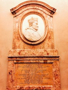 Memorial relief dedicated to Angelo Rocca, 1764, vestibule of Biblioteca Angelica, Rome
