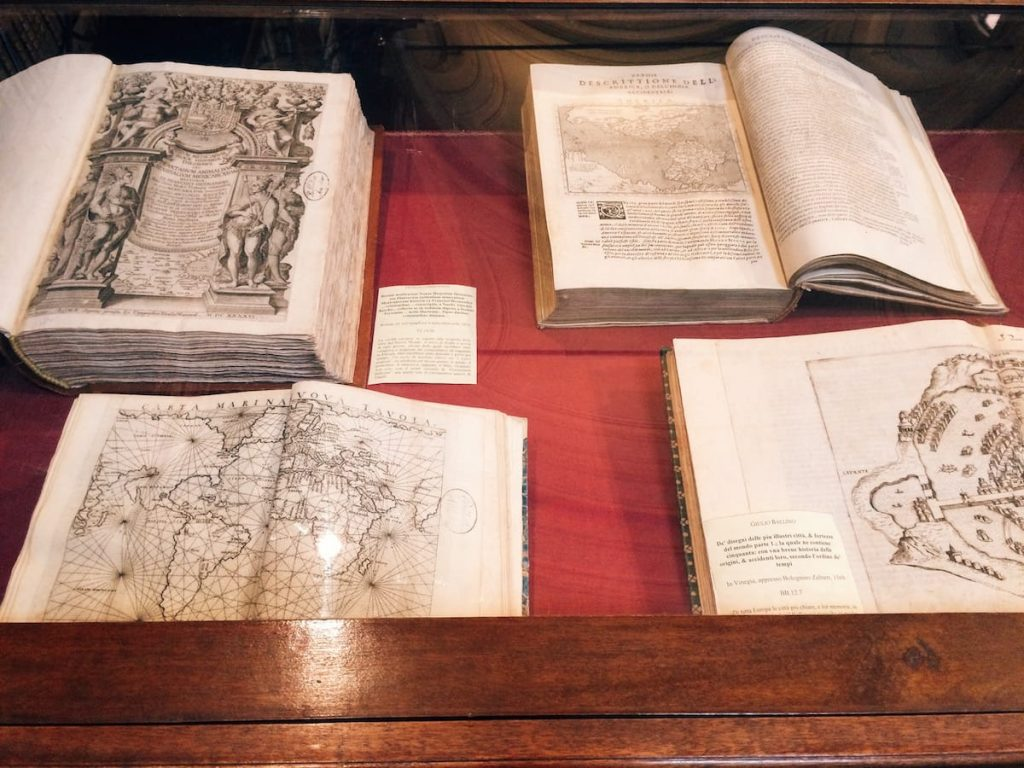 Old books on display at the Biblioteca Angelica, Rome