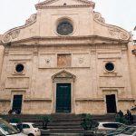 The late 15th century façade of the basilica di Sant'Agostino in Campo Marzio, Rome