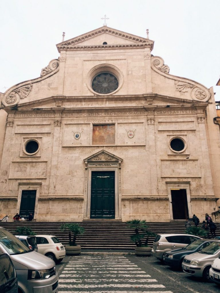 The late 15th century façade of the basilica di Sant'Agostino in Campo Marzio, Rome