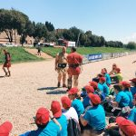 Ancient Roman gladiatorial fights explained to kids, featuring at the historical camp set in April 20-22, 2018 at Circus Maximus, during the celebrations of the founding of Rome, in Italy called Natale di Roma