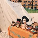 Ancient Roman beauty and hairstyle featuring at the historical camp set in April 20-22, 2018 at Circus Maximus, during the celebrations of the founding of Rome, in Italy called Natale di Roma