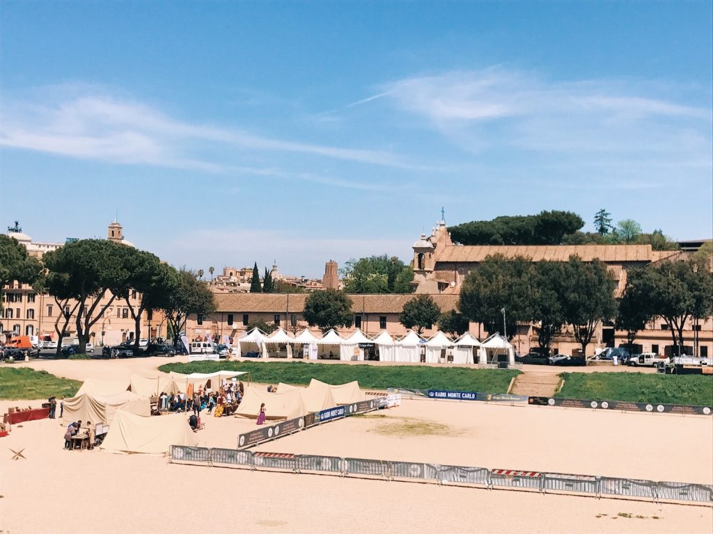 The historical camp set in April 20-22, 2018 at Circus Maximus, during the celebrations of the founding of Rome, in Italy called Natale di Roma