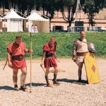 Ancient Roman gladiatorial fights, featuring at the historical camp set in April 20-22, 2018 at Circus Maximus, during the celebrations of the founding of Rome, in Italy called Natale di Roma