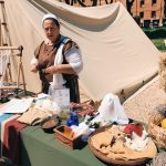 Ancient Roman weaving featuring at the historical camp set in April 20-22, 2018 at Circus Maximus, during the celebrations of the founding of Rome, in Italy called Natale di Roma