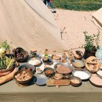 Ancient Roman foodstuffs featuring at the historical camp set in April 20-22, 2018 at Circus Maximus, during the celebrations of the founding of Rome, in Italy called Natale di Roma