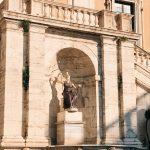 The statue of Rome goddess at piazza del Campidoglio, Rome.