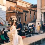 "The ""Coronation of Rome goddess"" event on the 20th of April 2018 at piazza del Campidoglio to start the celebrations of the founding of Rome, in Italy called Natale di Roma"
