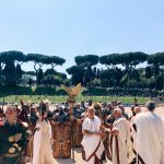 The end of the historical procession starting from Circo Massimo and passing by Teatro di Marcello, Piazza Venezia and Via dei Fori Imperiali, to worthily close on the 22nd of April 2018 the celebrations of the founding of Rome, in Italy called Natale di Roma
