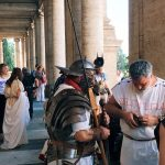 """Ancient Roman characters featuring at the """"Coronation of Rome goddess"""" event on the 20th of April 2018 at piazza del Campidoglio to start the celebrations of the founding of Rome, in Italy called Natale di Roma"""