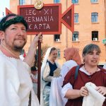 Ancient Roman characters featuring at the historical camp set in April 20-22, 2018 at Circus Maximus, during the celebrations of the founding of Rome, in Italy called Natale di Roma