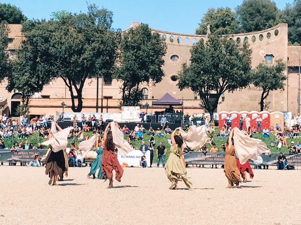 Ancient Roman dances, featuring at the historical camp set in April 20-22, 2018 at Circus Maximus, during the celebrations of the founding of Rome, in Italy called Natale di Roma