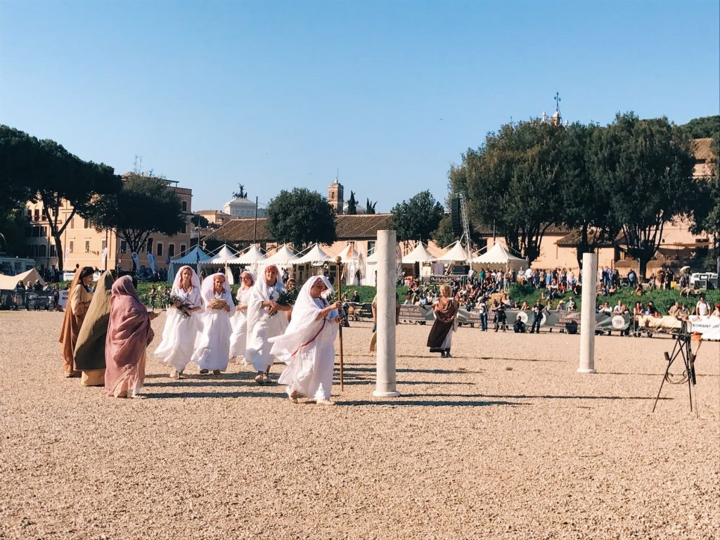 "The historical re-enactment of the religious ceremony of the ""Palilia"", featuring at the historical camp set in April 20-22, 2018 at Circus Maximus, during the celebrations of the founding of Rome, in Italy called Natale di Roma"