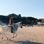 Ancient Roman horse races, featuring at the historical camp set in April 20-22, 2018 at Circus Maximus, during the celebrations of the founding of Rome, in Italy called Natale di Roma