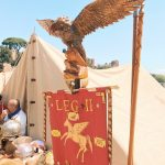 Standard of an Ancient Roman legion featuring at the historical camp set in April 20-22, 2018 at Circus Maximus, during the celebrations of the founding of Rome, in Italy called Natale di Roma