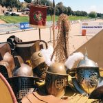 Ancient Roman gladiators' helms and weapons featuring at the historical camp set in April 20-22, 2018 at Circus Maximus, during the celebrations of the founding of Rome, in Italy called Natale di Roma
