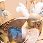 Ancient Roman gladiators' helms featuring at the historical camp set in April 20-22, 2018 at Circus Maximus, during the celebrations of the founding of Rome, in Italy called Natale di Roma
