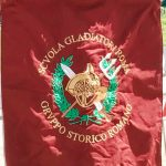 Standard of Rome gladiatorial school by the Gruppo Storico Romano association, featuring at the historical camp set in April 20-22, 2018 at Circus Maximus, during the celebrations of the founding of Rome, in Italy called Natale di Roma