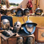 Ancient Roman gladiators' shields and greavers featuring at the historical camp set in April 20-22, 2018 at Circus Maximus, during the celebrations of the founding of Rome, in Italy called Natale di Roma