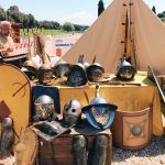 Ancient Roman gladiators' tent featuring at the historical camp set in April 20-22, 2018 at Circus Maximus, during the celebrations of the founding of Rome, in Italy called Natale di Roma