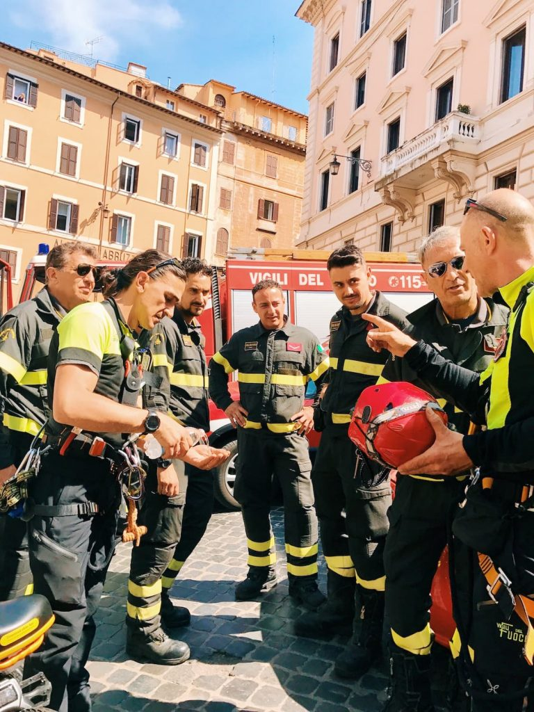 The firemen of Rome, getting ready with their harness to climb on the top of the Pantheon and let the petals fall down inside the monument, on the occasion of the Pentecost ceremony at the Pantheon in Rome