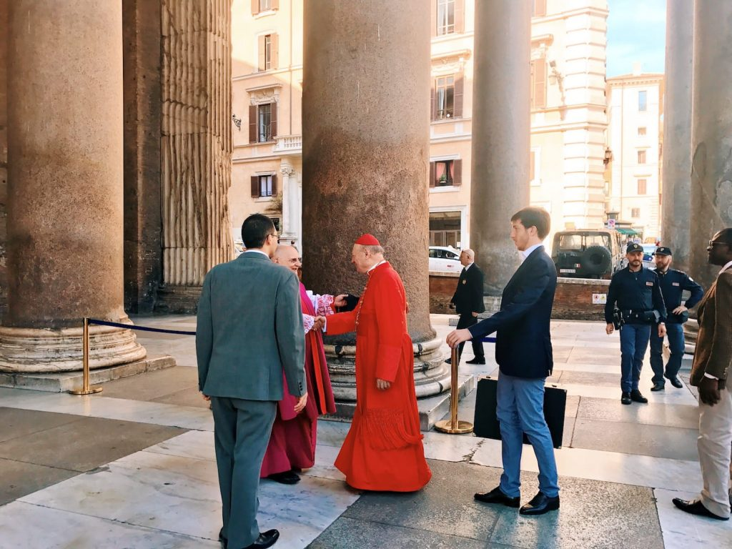 The welcome to the cardinal Gianfranco Ravasi, arrived to officiate the religious Mass on the occasion of the Pentecost ceremony at the Pantheon in Rome
