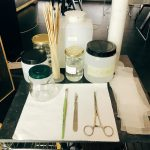 Restorers' instruments at the restoration laboratory, Rome
