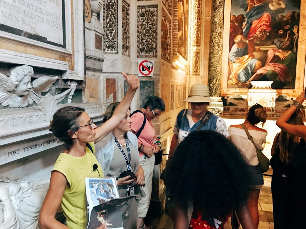 "The visit guided by Roma Experience during the ""Restoring Caravaggio - A VIP Rome Tour Experience"" on the 1st August 2018, Rome, basilica di Santa Maria del Popolo, Cerasi chapel"