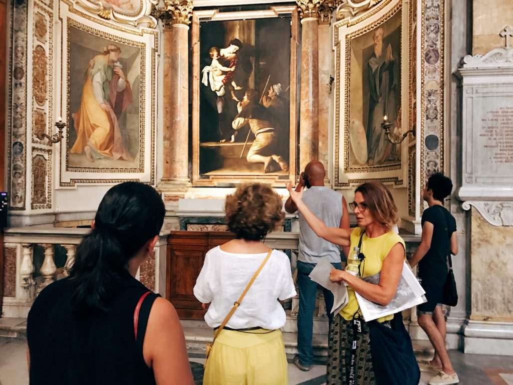 "The visit guided by Roma Experience during the ""Restoring Caravaggio - A VIP Rome Tour Experience"" on the 1st August 2018, Rome, basilica di Sant'Agostino, Cavalletti chapel"
