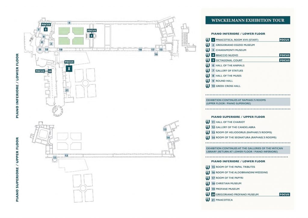 "Plan of ""Winckelmann. Capolavori diffusi nei Musei Vaticani"" exhibition itinerary at the Vatican Museums"
