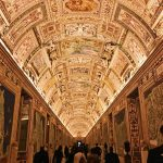 The Galleria delle Carte Geografiche lighten up in the evening at the Vatican Museums