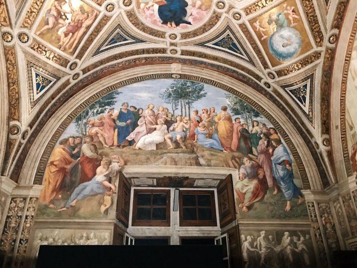 Raffaello Sanzio and helpers, The Parnassus, Stanza della Segnatura, fresco painting, ca. 1510-1511, Vatican Museums