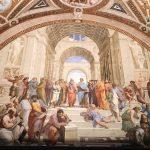 Raffaello Sanzio and helpers, The School of Athens, Stanza della Segnatura, fresco painting, ca. 1509-1511, Vatican Museums