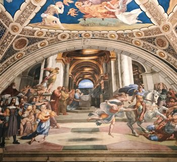 Raffaello Sanzio and helpers, The Expulsion of Heliodorus from the Temple, Stanza di Eliodoro, fresco painting, ca. 1511-1512, Vatican Museums