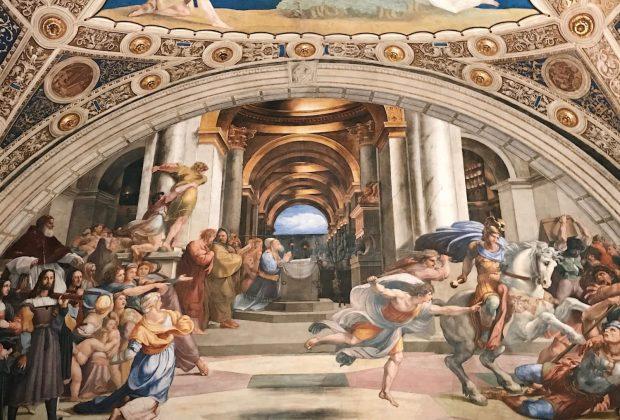 Raffaello Sanzio and helpers, The Expulsion of Heliodorus from the Temple, Stanza di Eliodoro, fresco painting, ca. 1511-1512, Vatican Museums