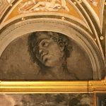 Baldassarre Peruzzi or Sebastiano del Piombo (attr.), Head of young man, fresco painting, Sala di Galatea, Villa Farnesina, Rome