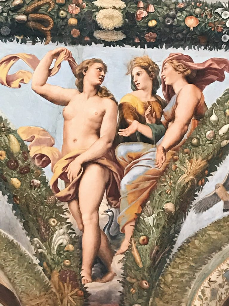 Giulio Romano, Giovanni Francesco Penni, Raffaellin del Colle and Giovanni da Udine, after Raffaello Sanzio's designs, Story of Cupid and Psyche (detail), Loggia di Psiche, Villa Farnesina, Rome