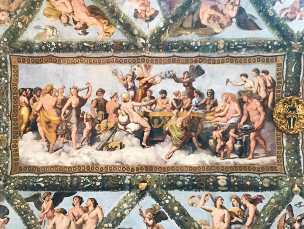 Giulio Romano, Giovanni Francesco Penni, Raffaellin del Colle and Giovanni da Udine, after Raffaello Sanzio's designs, Marriage of Cupid and Psyche, from the Story of Cupid and Psyche, Loggia di Psiche, Villa Farnesina, Rome