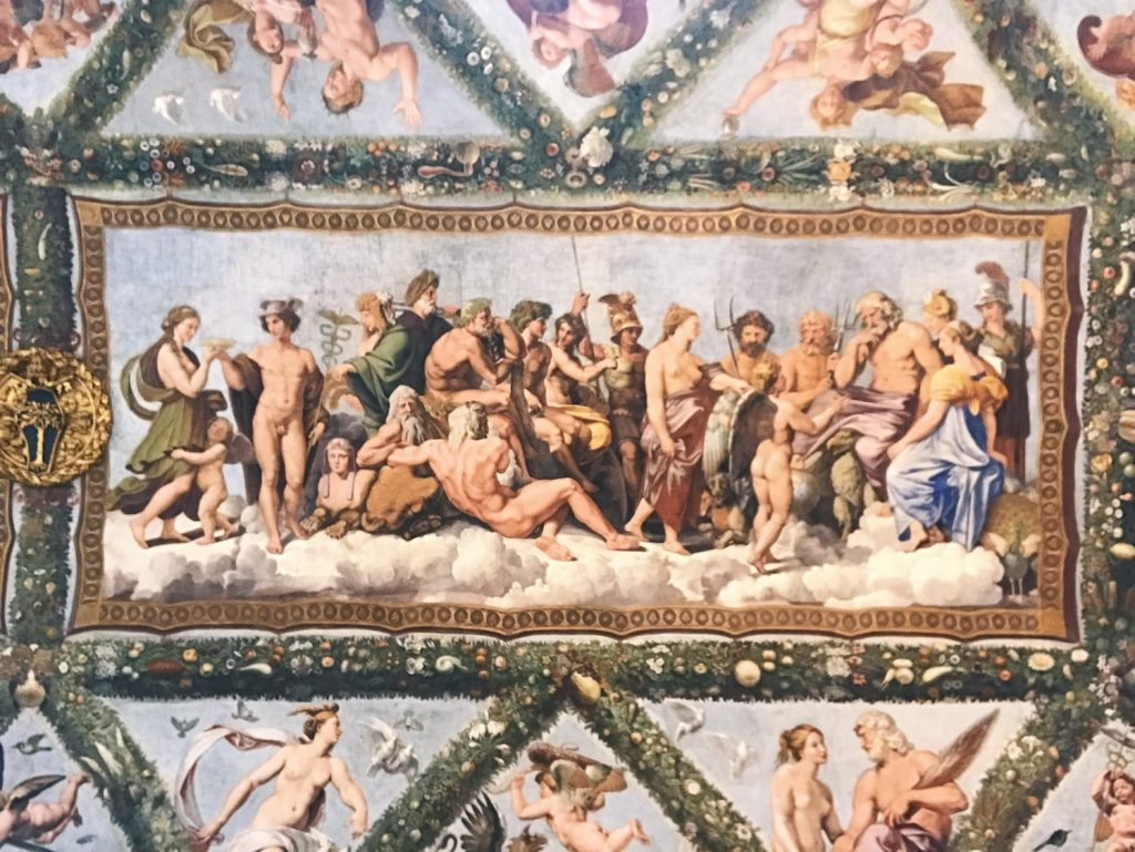 Giulio Romano, Giovanni Francesco Penni, Raffaellin del Colle and Giovanni da Udine, after Raffaello Sanzio's designs, Council of the Gods, from the Story of Cupid and Psyche, Loggia di Psiche, Villa Farnesina, Rome