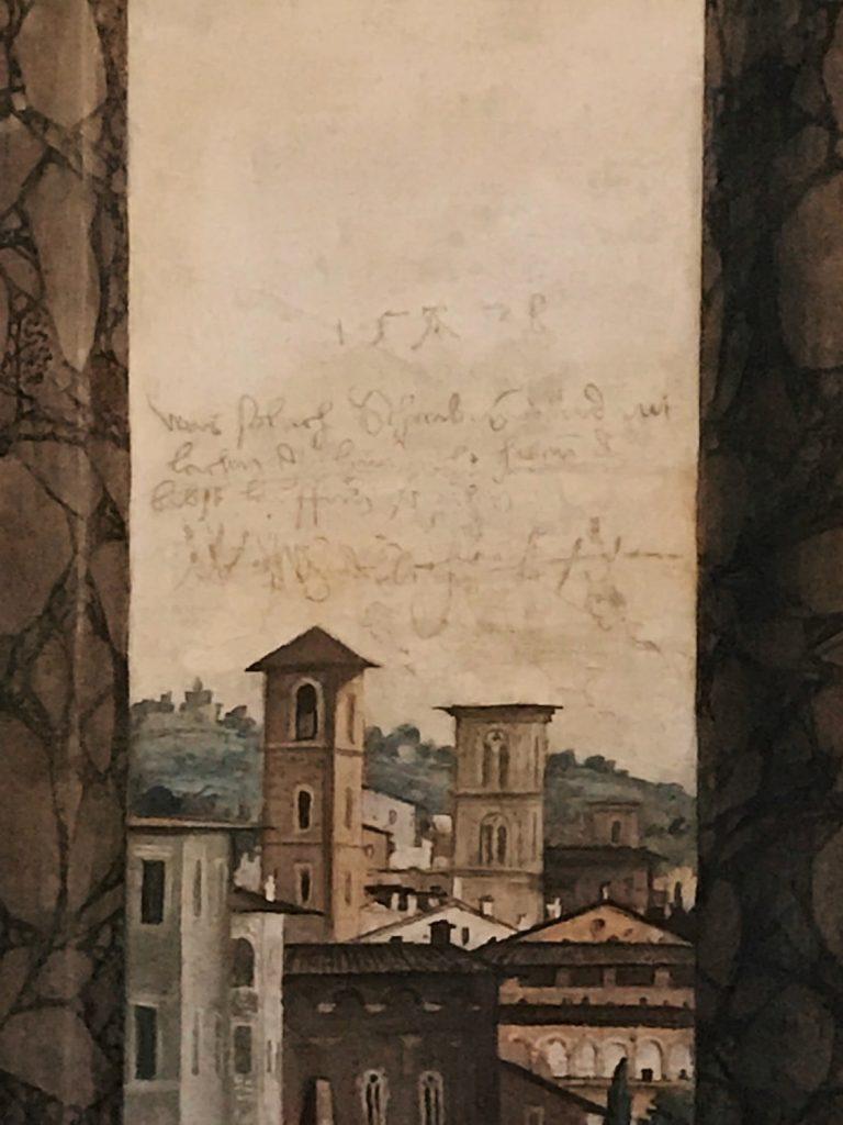 Sixteenth century writings by Landsknecht, Salone delle Prospettive, Villa Farnesina, Rome