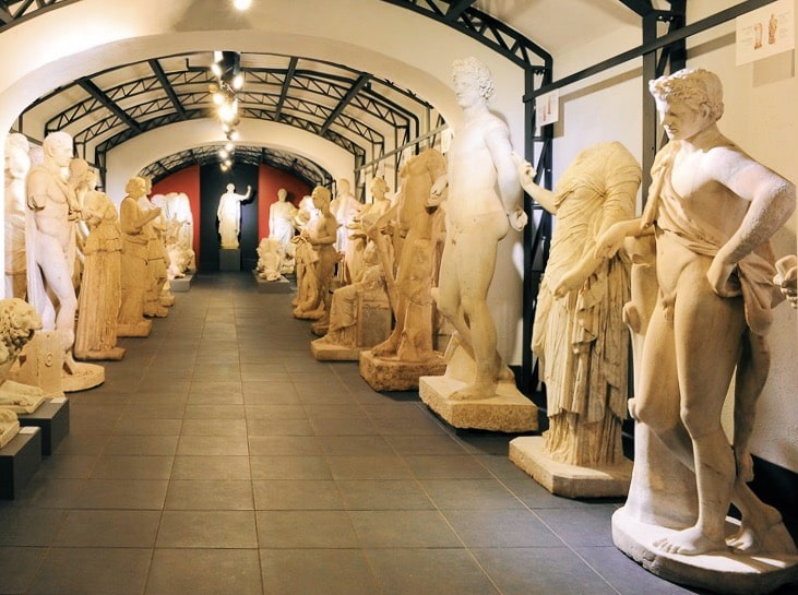 Storage of Villa Borghese sculptures at Museo Pietro Canonica in Rome