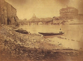 Unknown author, Panorama of Castel Sant'Angelo (before the building of the Tiber embankments), Rome, 1860 ca., albumin, (203x267) mm, on cardboard support (238x306) mm, Manodori Sagredo collection