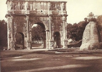 G. Sommer, Arch of Constantine (and Meta Sudans), Rome, 1870 ca., albumin, (202x247) mm, on cardboard support (238x306) mm, Manodori Sagredo collection.
