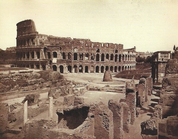 G. Sommer, Colosseum (with Meta Sudans), Rome, 1860 ca., albumin, (200x250) mm, on cardboard support (238x306) mm, Manodori Sagredo collection