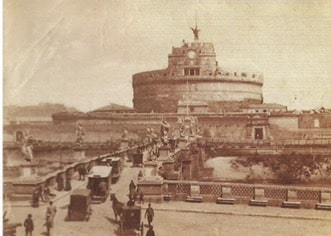 Unknown author, Castel Sant'Angelo (with exterior castle wall,the clock on the tower and the horses tram), Rome, 1870-1880, albumin, (190x252) mm, Manodori Sagredo collection