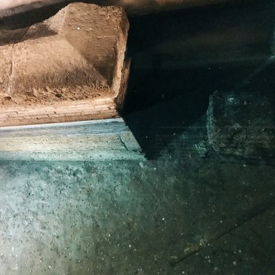 Part of the sepulcher of Aulus Hirtius, partially submerged by the water of the Euripus canal, Rome, Palazzo della Cancelleria