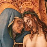 Carlo Crivelli, Detail from the Pietà, 1488-1489, lunette, tempera on panel, Inv. 40300. Possibly coming from the church of San Pietro di Muralto in Camerino. On view in the Room XVII, Vatican Museums, Pinacoteca Vaticana