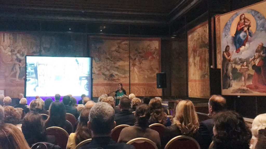"Director Barbara Jatta during the opening speech at the inauguration of ""L'oro di Crivelli - Crivelli's gold"" exhibition at the Vatican Museums, Pinacoteca Vaticana, 14 November 2019"
