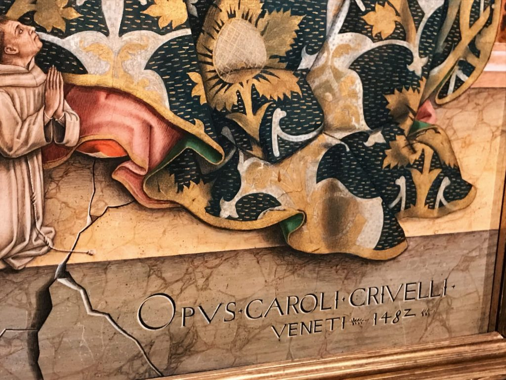 Signature detail by Carlo Crivelli, Madonna and Child, 1482, tempera on panel, Inv. 40297. Coming from the church of San Francesco in Force (Ascoli Piceno). On view in the Room XVII, Vatican Museums, Pinacoteca Vaticana